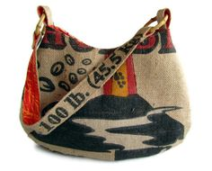 Repurposed Burlap Coffee Bag. Hobo Bag and Shoulder Bag with Bamboo. MADE TO ORDER. Made in Hawaii. $75.00, via Etsy.