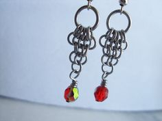 Very cool ;~D Red Drop Chainmaill Earrings by RingedDesigns on Etsy, $11.98 #onfireteam #lacwe #teamfest #handmade