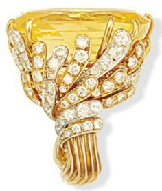 Side view of David Webb Ceylon yellow sapphire and diamond ring from the estate of Laura Thorn, a great granddaughter of John D. Rockefeller