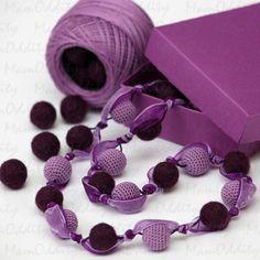 Häkeln und Gefilzte Halskette violette Blüte von MamOddity auf Etsy