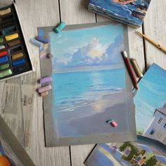 The sea and the sky Watercolor Art, Art Painting, Chalk Art, Pastel Art, Soft Pastel Art, Art Drawings, Pastel Painting, Art, Canvas Art