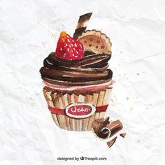 Cupcake de chocolate pintado a mano #Printable
