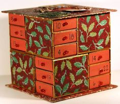 This is tiny matchboxes as an advent calendar. Could do the same with bigger boxes to store notions, jewelry, beads, etc.