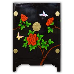 "29"" Black Lacquer Floral Painting Cabinet wtih 2 Doors Chinese Furniture"