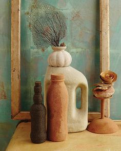 Sand Textured Bottles & Vases tutorial | Sweet Paul Magazine . Easy project to show off your vacation travel sands. Cool idea. Now if I can just get to the beach... http://www.sweetpaulmag.com/crafts/sand-textured-bottles-amp-vases #beachcraft #DIYcontainerart #sandcraft
