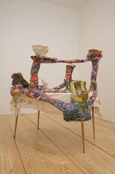 Jessica Jackson Hutchins    Convivium    2008  Table, linen, paper maché and ceramic  134 x 144.1 x 136.5 cm