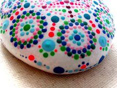 Hand painted Stone Dots Mandala- Meditation-Pebble Colourful Art–Indian Chakra-Pointillism-Dot Art-Sea Rock-Handicraft mandala implement by ColorBakalito on Etsy