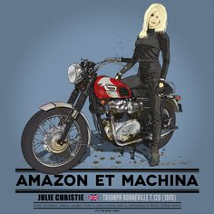 Julie y su Triumph Bonneville Motorbike Girl, Motorcycle Art, Triumph Bonneville, Triumph Motorcycles, Cars And Motorcycles, Mv Agusta, Midnight Rider, Cafe Racer Girl, Racing Team