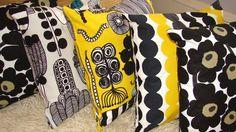 SET of 3 Handmade pillow cushion case Marimekko Rasymatto Unikko black Marimekko Fabric, Fabric Rug, Scandinavian Fabric, Scandinavian Style, Textile Patterns, Textile Design, Floral Patterns, African Textiles, Japanese Patterns