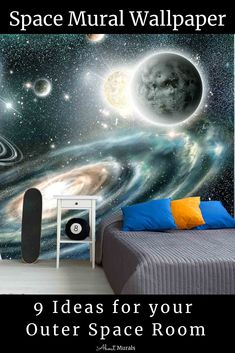 Space Mural 8 Other Ideas for an Outer Space Room 3d Wallpaper Designs For Walls, Wallpaper Space, Outer Space Bedroom, 3d Home Design, Kids Bedroom, Bedroom Ideas, Space Interiors, Room Themes, Designer Wallpaper