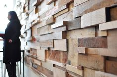 Recycled Timber Offcuts Timber Slats, Timber Tiles, Timber Panelling, Wall Panelling, Slat Wall, Wood Paneling, Espresso Cafe, Distressed Wood Wall, Cozy Cafe