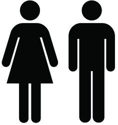 """""""The bathroom icon has no clothes"""" article.  they are not the same except for the dress..."""