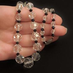#YearsAfter ART DECO Crystal Necklace Sterling Clasp Beaded CLEAR Crystals Black Jet Multi Faceted Beads, Prom Wedding Jewelry, Mother's Day Gift https://www.etsy.com/listing/611351607/art-deco-crystal-necklace-sterling-clasp?ref=listing-shop-header-0 #rockcrystalnecklace #crystalnecklace #artdecocrystal #artdeconecklace #beadednecklace #etsyseller #gotvintage