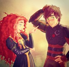 Merida and Hiccup (How To Train A Dragon)  -- fan art -- disney dream couple -- otp