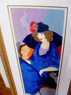 "Tarkay Artist Signed Numbered Framed Limited Edition Original Serigraph ""Blue Dress"" Large 64""x34"" Collectible Art. Authentic Signature."