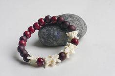 snake vertebra bones wooden beads bracelet
