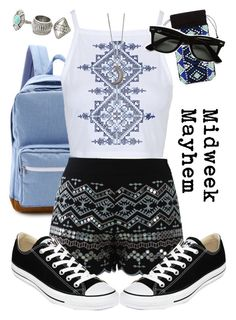 """Ootw: Wednesday"" by diamond-armoire ❤ liked on Polyvore featuring Herschel Supply Co., Chicwish, Topshop, Converse, Ray-Ban, MANGO and Gypsy Warrior"