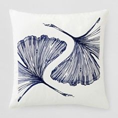 """Frette Leaf Embroidered Decorative Pillow, 20"""" x 20"""""""