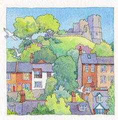 LyndseySmith: Lewes Castle...again 16 October, 8th Of March, Watercolour Paintings, Watercolor, Lewes Castle, English Castles, Contemporary Artwork, Book Illustration, Sketching
