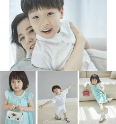 Lee Young-ae with her twin children