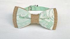 Men's lace and burlap bow tie  rustic tan burlap by KristineBridal
