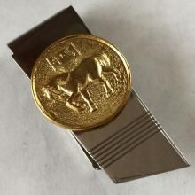 Gold plated round sterling silver coin with HORSE sign on Stainlees steel money clip