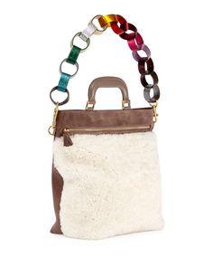 Anya Hindmarch Orsett Small Paper Chain Shearling Fur Top-Handle Bag