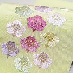 桜並び刺繍半衿【瑠璃 黄】