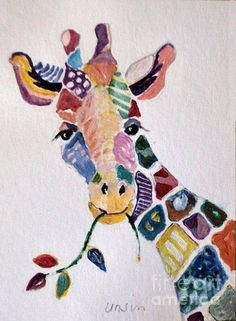 Amazing Patchwork giraffe print by Diane Ursin. All prints are professionally printed, p . Patchwork giraffe print by Diane Ursin. Giraffe Painting, Giraffe Art, Giraffe Drawing, Pintura Graffiti, Art Du Collage, Animal Quilts, Fabric Art, Textile Art, Watercolor Art