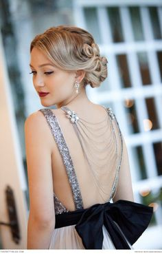 Old Hollywood style dress with diamante detail. Dress: Truvelle