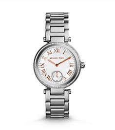 MICHAEL Michael Kors Michael Kors 'Skylar - Small' Crystal Bezel Bracelet Watch, available at Michael Kors Rose, Michael Kors Outlet, Michael Kors Watch, Stainless Steel Watch, Stainless Steel Bracelet, Silver Color, Gold Watch, In This World, Gold Jewelry
