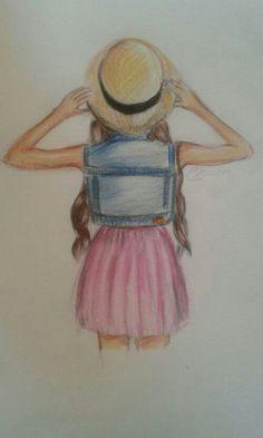 Afbeeldingsresultaat voor tekeningen om na te teke… Girly Drawings, Cool Art Drawings, Pencil Art Drawings, Beautiful Drawings, Easy Drawings, Drawing Sketches, Drawing People, Drawing Girls, Painting & Drawing