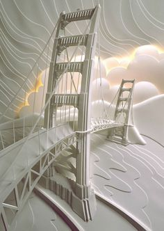 it's paper art, but doesn't it look like the Mackinaw bridge during a winter storm?!