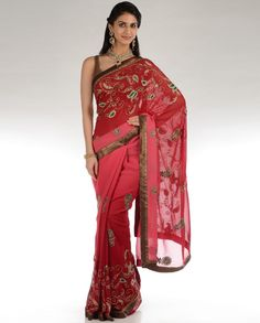 Ombre Rose Pink and Red Zari Embroidered Sari