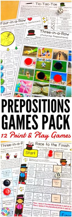 """LOVE these low-prep games! My students have so much fun playing them!"" This Prepositions Games Pack contains 12 fun and engaging printable board games to help students to practice identifying and using prepositions and prepositional phrases."