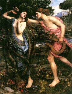 John William Waterhouse Apollo and Daphne painting for sale - John William Waterhouse Apollo and Daphne is handmade art reproduction; You can shop John William Waterhouse Apollo and Daphne painting on canvas or frame. Dante Gabriel Rossetti, John William Waterhouse, Lawrence Alma Tadema, Pre Raphaelite Brotherhood, Greek And Roman Mythology, Classical Mythology, Greek Gods, Classical Art, Irish Mythology