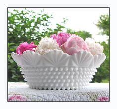 Unique and Exquisite Vintage Milk Glass Hobnail Bowl/My Glorious Wedding Centerpiece/Milk Glass Server