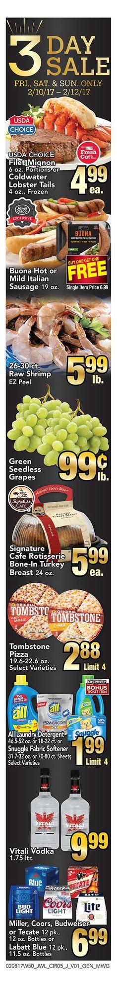 Jewel- Osco 3 Day Sale February 10 - 12, 2017 - http://www.olcatalog.com/grocery/jewel-osco-online.html