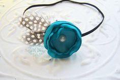 Serre-tête nouveau-né / bébé bandeau / Girls bandeau ANISTON Satin fleur et plume bandeau élastique en bleu-vert