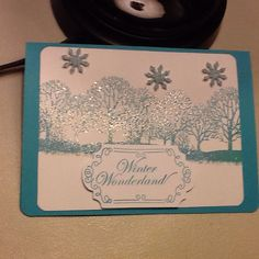 """Christmas card embossed.  Tag cut out with Cricut """"Art Philosophy cartridge *CTMH"""