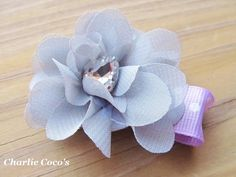 Baby/ Girls Flower Hair Clip Gray and Purple Hair by CharlieCocos, $3.50