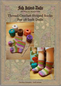 skarpetki Free Pattern - Crochet Thread Striped Socks For 18 Inch Dolls