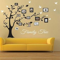 Picture Frame Family Tree Wall Art, Tree Decals | Trendy Wall Designs