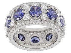 Charles Winston For Bella Luce(R) 11.27ctw Tanzanite & Diamond Simulants Rhodium Over Sterling Ring