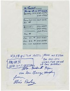 [recto] Elvis Presley personally delivered a letter to the northwest gate of the White House. Written on American Airlines stationery, the five-page letter requested a meeting with President Nixon. Presley intended to present the President with a gift of a World War II-era pistol and obtain for himself the credentials of a federal agent in the war on drugs.
