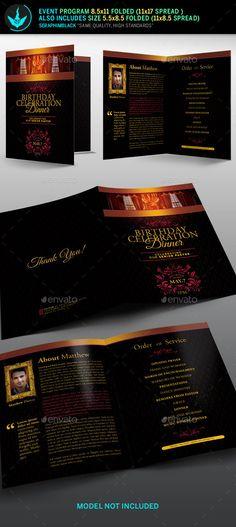 Gold And Black Anniversary Program  Brochure Template