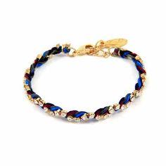 Ettika Friendship Thread Rhinestone Braided Bracelet Gold - Midnight
