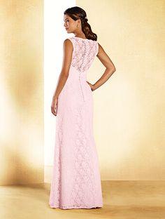A long princess bridesmaid dress with sweetheart neckline, cap sleeves, sheer back yoke, and A-line skirt.