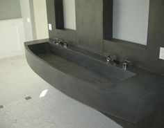 Customer Concrete Bathroom integral dual-vanity trough sink - made with CHENG Pro-Formula Mix in Charcoal, by Chris from DC Concrete, California