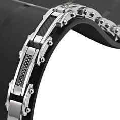Mens Stainless Steel and Black Carbon Fibre Bracelet with Link